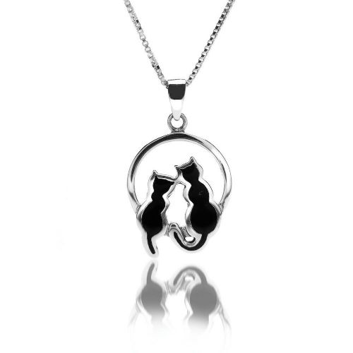 Black Cat Moonlight Pendant Necklace Sterling Silver Hallmark All Chain Lengths